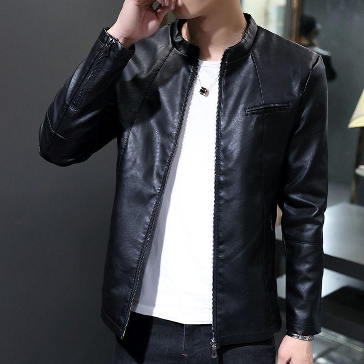 2017 Spring Autumn New Casual Stand Collar Leren Motorjassen Slim Fine Quality Jacket Motorcycle