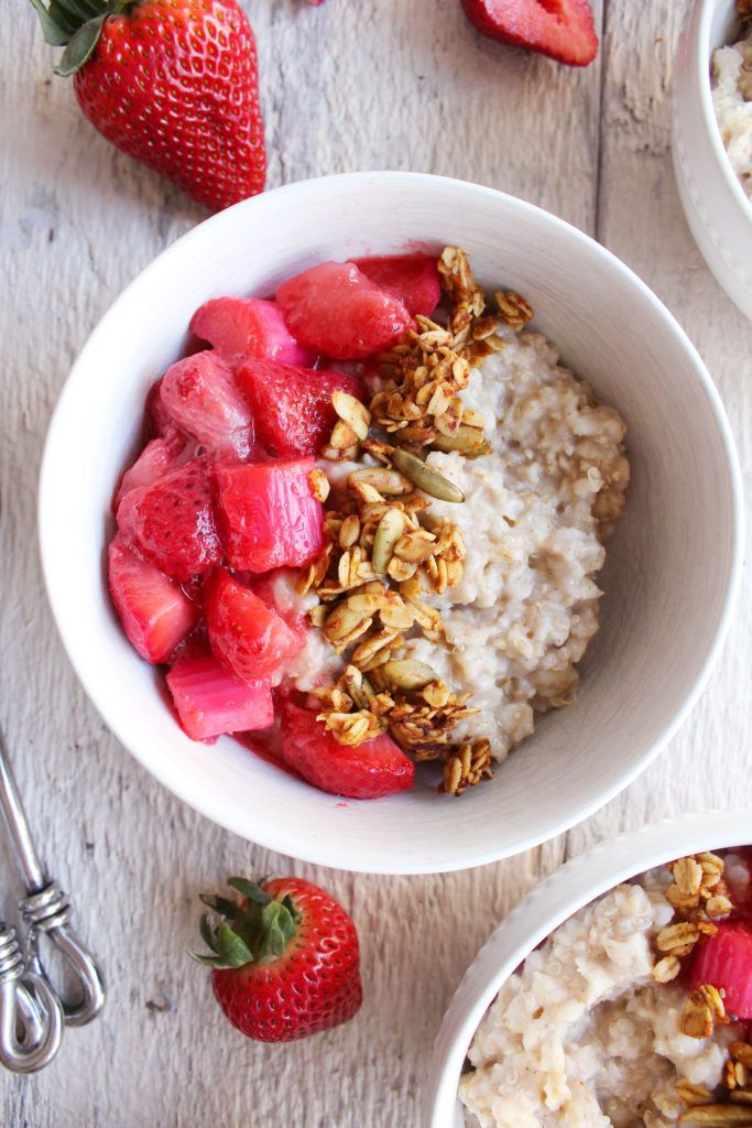 Quinoa Breakfast Bowls w/ Strawberry Rhubarb Compote! Spring-inspired ...