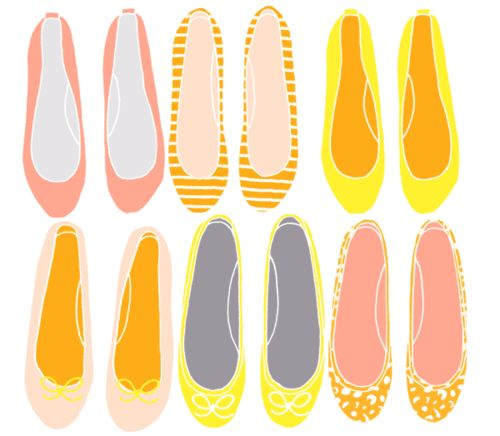 Fun illustration of yellow and pink flats.