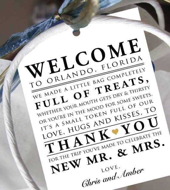 Set of 10 - Wedding Welcome Bag Note - Welcome Poem - Gift Tags for Wedding Hotel Welcome Bag - Destination Wedding - Welcome Thank You Tags