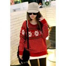 Charming Loose-Fit Snowflake Pattern Scoop Neck Long Sleeves Sweater For Women (RED,ONE SIZE) China Wholesale - Sammydress.com