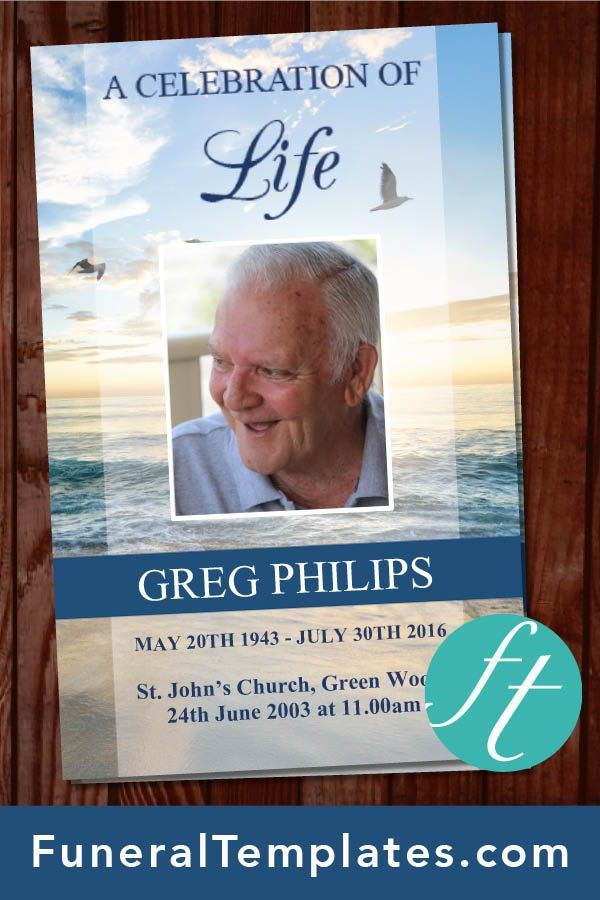 4 Page Beach Funeral Program Template Funeral Programs for Men