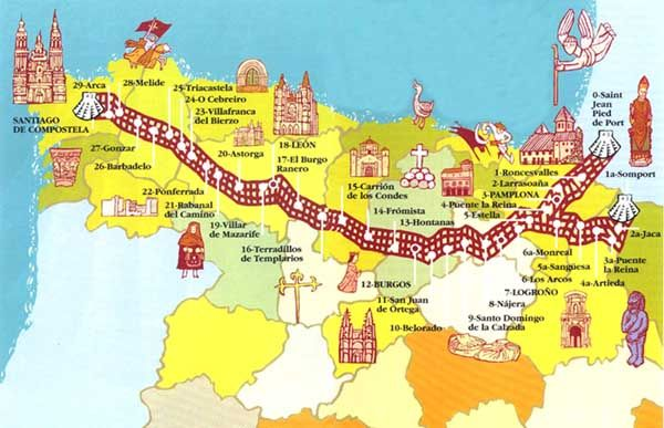 The Way / El Camino de Santiago: The journey starts at Saint Jean-Pied-de-Port (France) and finishes at Santiago de Compostela (Spain). On the way you may see a lot of Spanish beautiful towns and small villages. Have a look on the map! ¡Fijénse! ¡ Interesante! ...