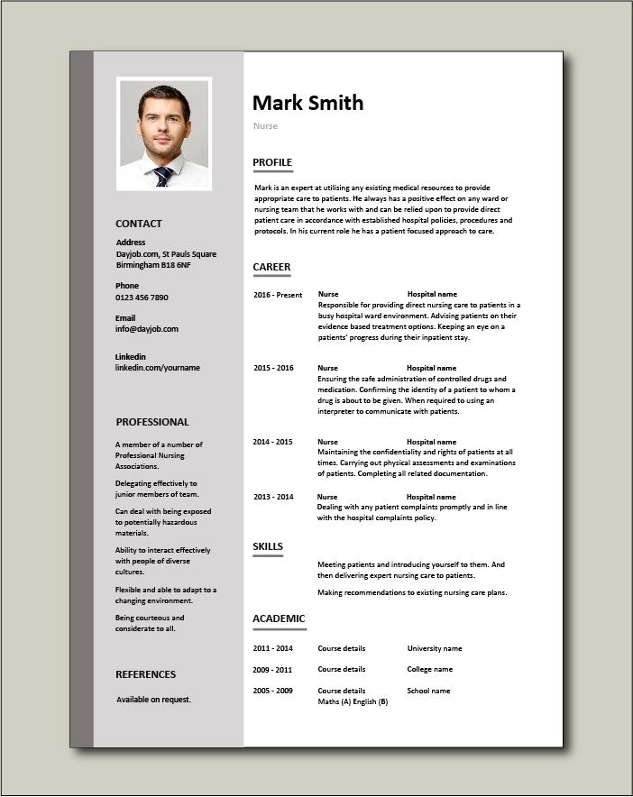Resume Example With Headshot Photo Cover Letter 1 Page Word Resume Design Diy Cv E Teacher Resume Template Nursing Resume Template Resume Template Examples