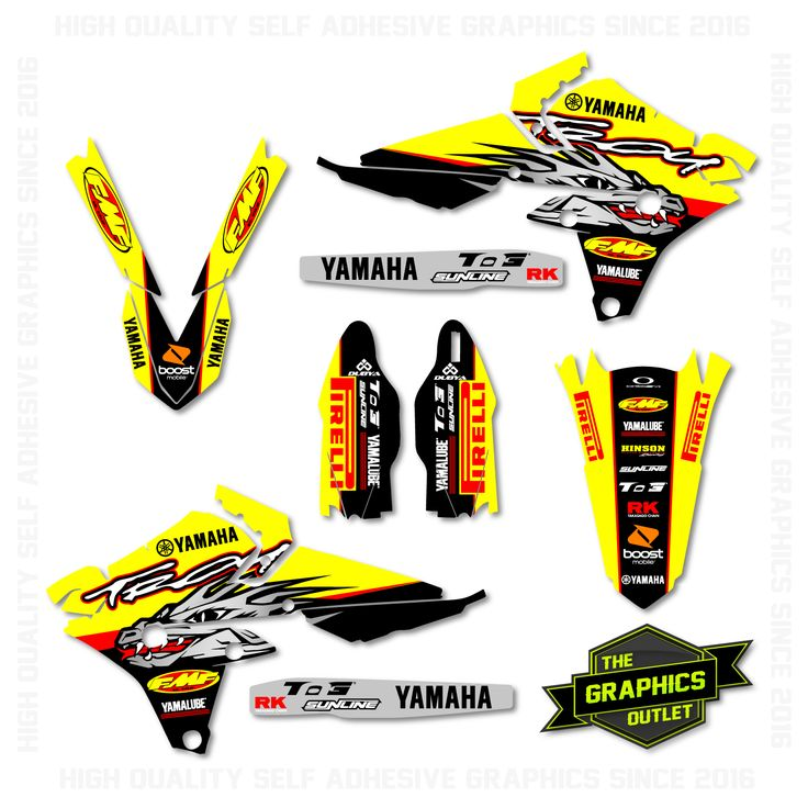 YAMAHA YZF250 / YZF450 2014 -16 - TROY FACTORY REPLICA - SPLIT KIT MOTOCROSS GRAPHICS - YELLOW & BLACK VERSION