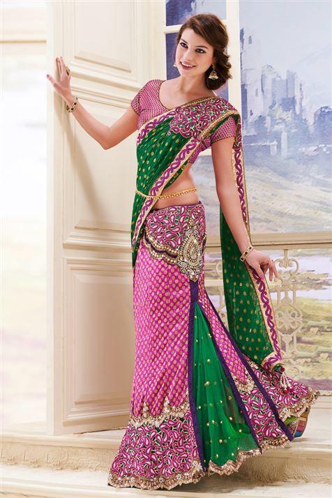 Net, Georgette Purple, Green Designer Party Wear Lehenga Style Saree