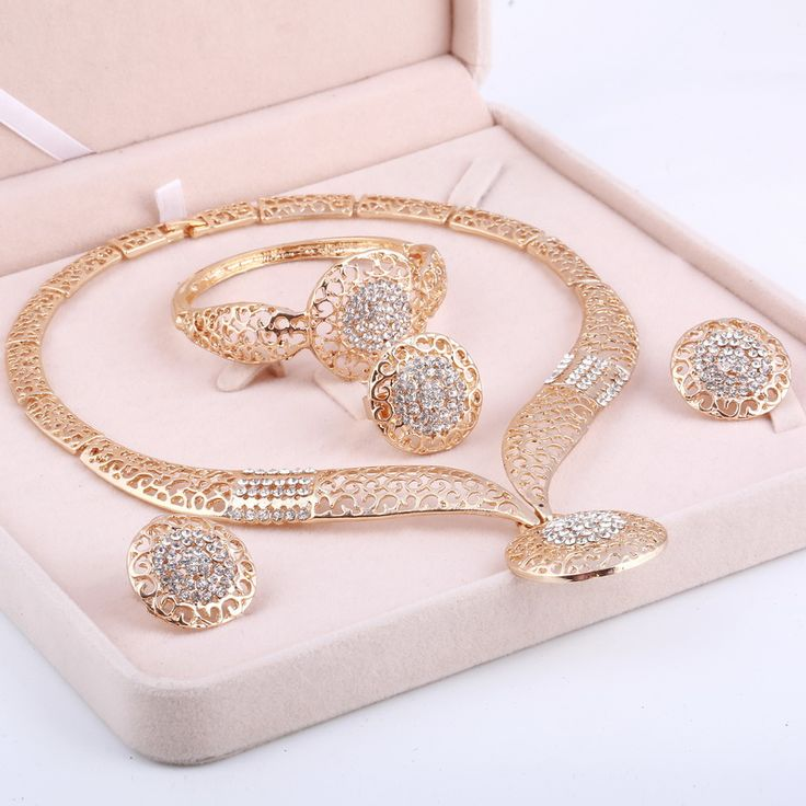 Dubai Gold Color Jewelry Sets Nigerian Wedding African Beads Crystal Bridal Jewellery Set Rhinestone Ethiopian Jewelry parure