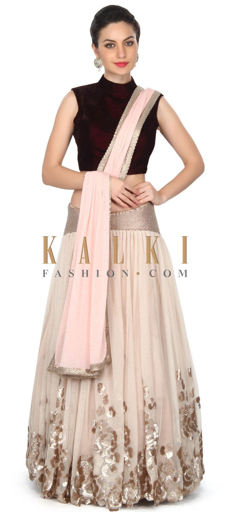 Buy this Beige lehenga in sequin embroidery in floral motif only on Kalki