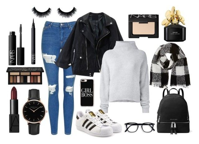 """""""School day"""" by tess-302 on Polyvore featuring Topshop, Le Kasha, adidas Originals, MICHAEL Michael Kors, Barneys New York, Casetify, NARS Cosmetics, Kat Von D, Marc Jacobs and school"""