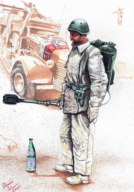 Regio Esercito - Caporalmaggiore Tuvo, Operatore di Lanciafiamme, XXXI Guastatori, 1942. Claudio Antenucci
