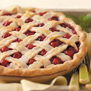 Fresh Cherry Pie...This ruby-red treat is just sweet enough, with a hint of almond flavor and a good level of cinnamon. The cherries peeking out of the lattice crust makes it so pretty, too.—Josie Bochek, Sturgeon Bay, Wisconsin