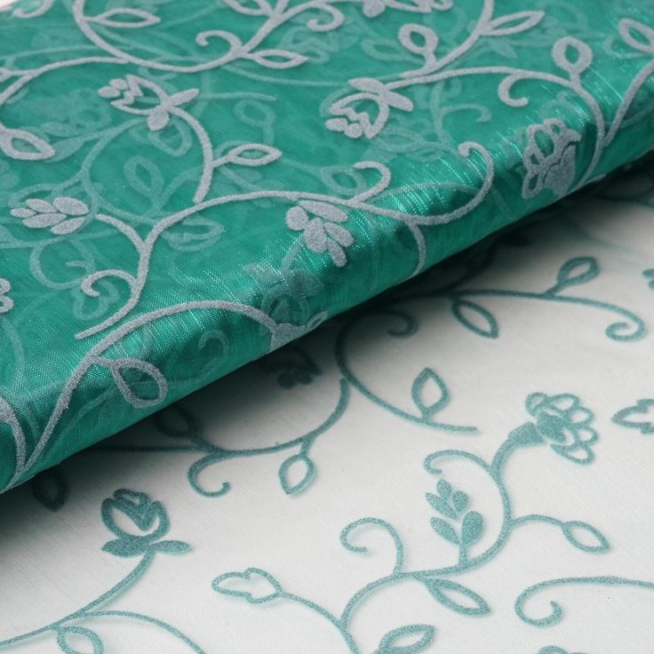 "54"" x 10 Yards Velvet Embroidery Sheer Organza Fabric Bolt Wedding Drape Panel Dress Stage Decor - Emerald / Add great flair in your party ambiance or formal wardrobe with this admirable velvet flower embroidered organza. This enticing combination of sheer organza and attractive velvet embroidered floral vines makes this fabric one of a kind. It is named Muchos Besos or Many Kisses in Spanish because of its unique attribute of amalgamating elegance with romantic floral accents. The…"