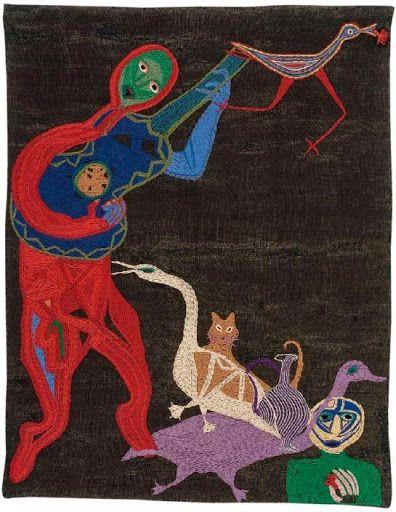 Fichiers transférés - Arpillera de Violeta Parra  Thiago de Mello. 1960 165 x 130 cm. Yute teñido bordado con lanigrafía. Fundación Violeta Parra