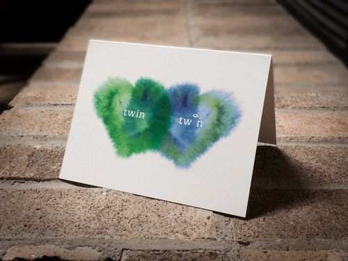 Sympathy card for the loss of one twin. (boy/boy twins)