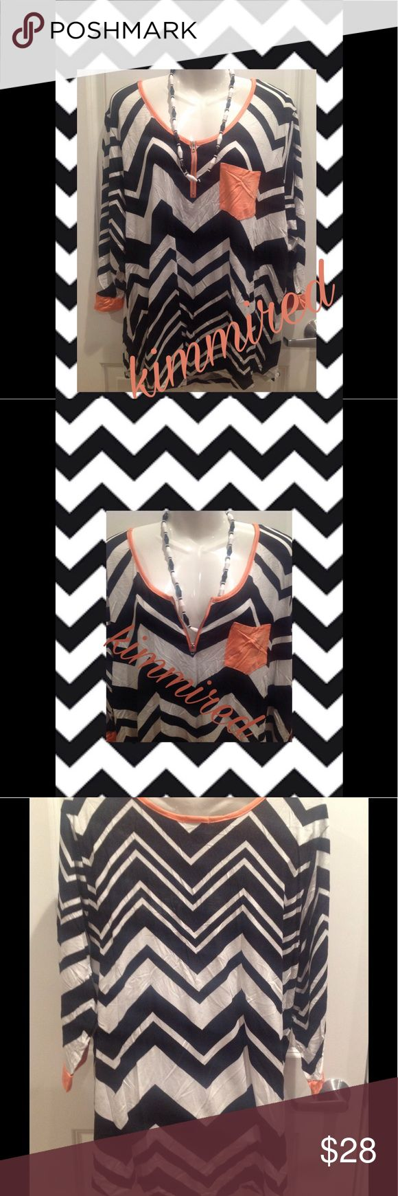 🆕 Black/White/Coral Chevron Shirt/Top ~ 3X ~ NWT PLEASE PAY ATTENTION TO MY OFFER CHART BEFORE MAKING AN OFFER‼️ Submitting a low offer is NOT NEGOTIATING‼️ If I'm lowballed, I'm blocking. I've very nice clothes & I put a lot of time on my listings. Please be respectful & remember Posh takes an additional 20%! * rant over*  🆕 Black/White/Coral Chevron Shirt/Top ~ 3X ~ NWT chevron 🍑 coral trim 🍑 functional zipper on neckline 🍑 new with tags 🍑 pocket on chest Necklace❌NOT❌ included‼️…