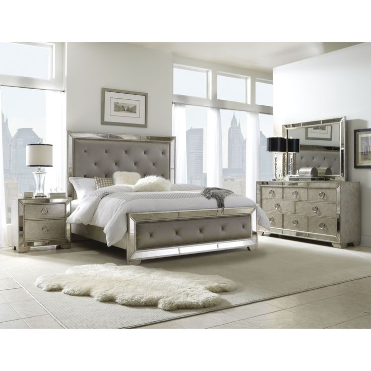 Celine 5 Piece Mirrored And Upholstered Tufted Queen Size Bedroom Set Grey