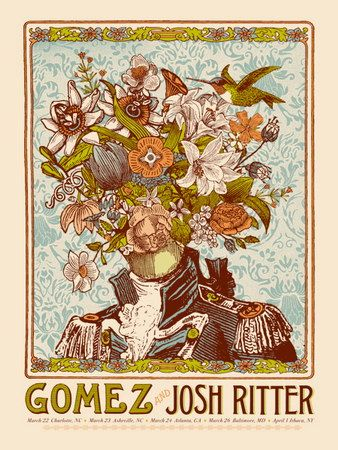 Gomez and Josh Ritter Concert Poster by Nate Duval (SOLD OUT)