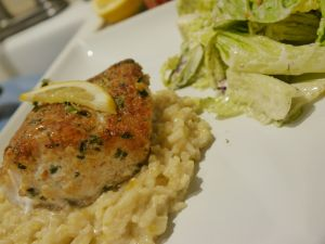 HERB-CRUSTED GOLDEN TILEFISH WITH LEMON-LEEK RISOTTO