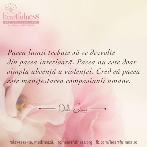 Pacea lumii trebuie să se dezvolte din pacea interioară. Pacea nu este doar simpla absență a violenței. Cred că pacea este manifestarea compasiunii umane. ~ Dalai Lama 21 septembrie - ZIUA INTERNAȚIONALĂ A PĂCII #heartfulness #peace_day #hfnro Heartfulness România - Google+