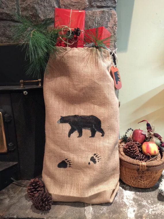 Burlap Gift Bag Christmas Bag All Occassion by TheBackyardBear