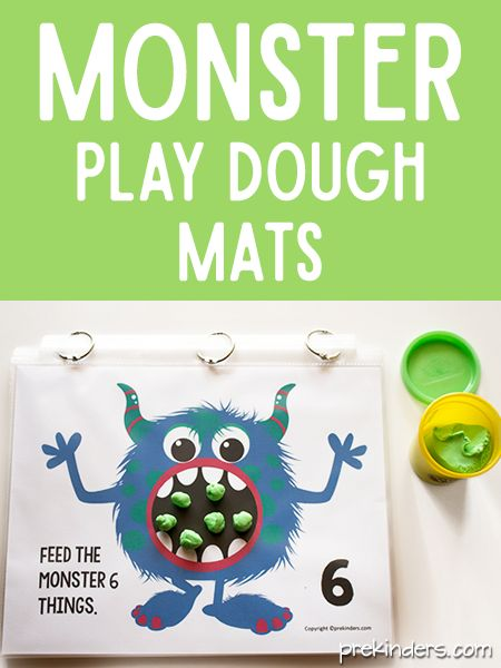 """These monster play dough math mats will fit right in with your Halloween activities. I like this fuzzy,non-scary, kid-friendly monster — so cute! To make the mats, print them out and either laminate them or slip them into page protectors. I always use page protectors and bind them together with metal binder rings so the kids can flip through them as they use them. Each mat says, """"Feed the monster"""