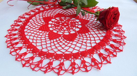 Large Hot Red Crocheted Lace Doily Crochet Table by MaddaKnits