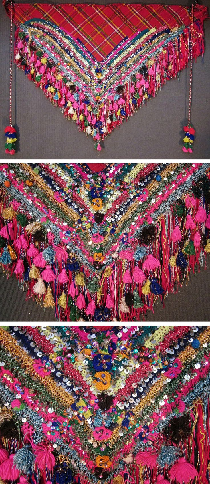 An 'arkalık kuşak' (waist cloth)  from the Pomak villages near Biga (Çanakkale prov.).  Part of the traditional festive costume for women.  1950-1975.  Adorned with cotton crochet lace, small metallic spirals, (cotton or orlon) pom-poms & tassels, and lots of sequins (both metal and mica).  (Inv.nr. ark027 - Kavak Costume Collection - Antwerpen/Belgium).