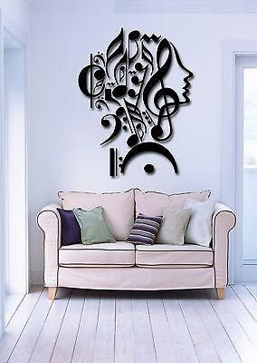 Wall Stickers Vinyl Decal Notes Music Woman Teen Girl Face Decor Unique Gift (z1983)