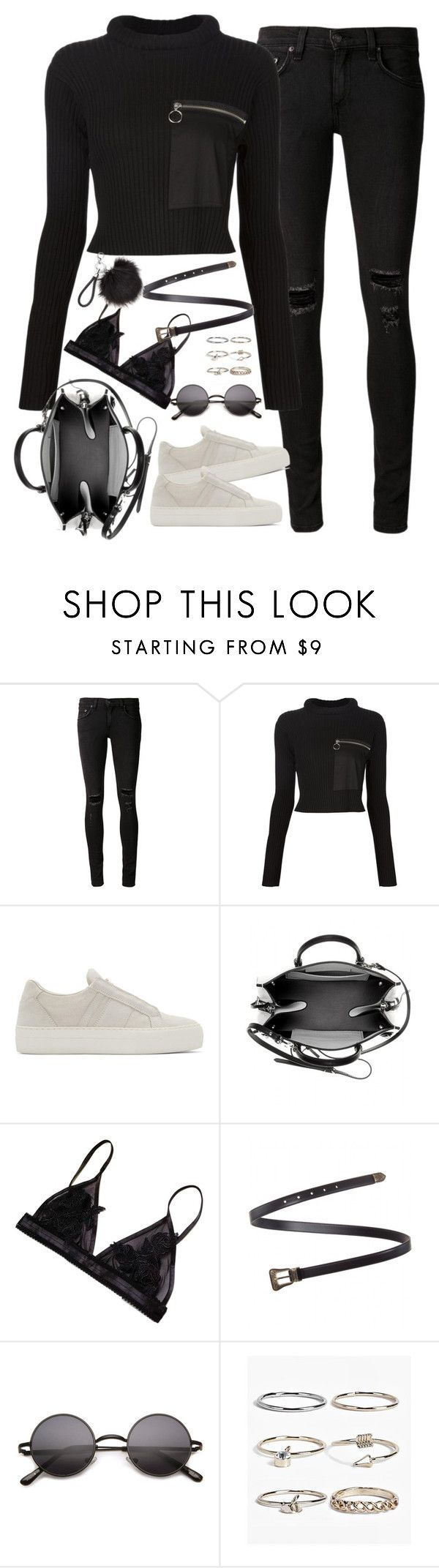 """Untitled#4516"" by fashionnfacts ❤ liked on Polyvore featuring rag & bone/JEAN, MM6 Maison Margiela, Helmut Lang, Balenciaga, Yves Saint Laurent and Boohoo"