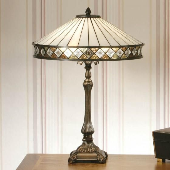THE RITZY WHITE TIFFANY STYLE TABLE LAMP