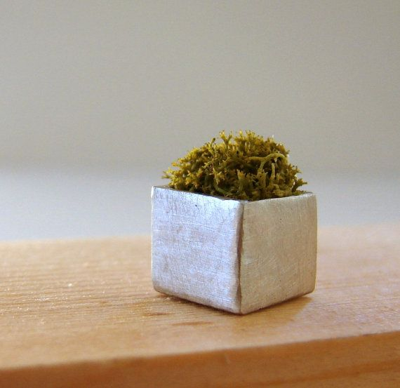 Wearable Planter Moss Green Cube Necklace by Nafsika on Etsy, $50.00