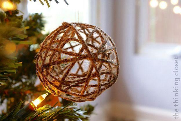 Glitter Twine Ball Ornaments | Stunningly Beautiful DIY Homemade Christmas Ornaments