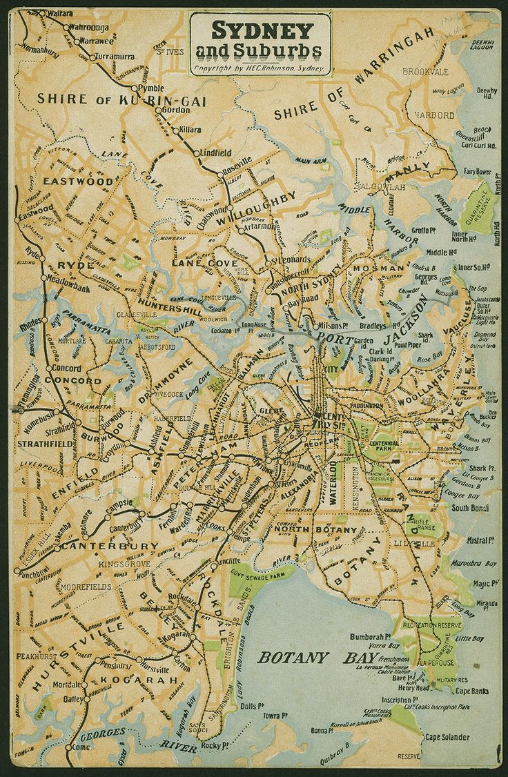 """Sydney and Suburbs, c.1914. Note the """"Govt Sewage Farm"""" on the shores of Botany Bay."""