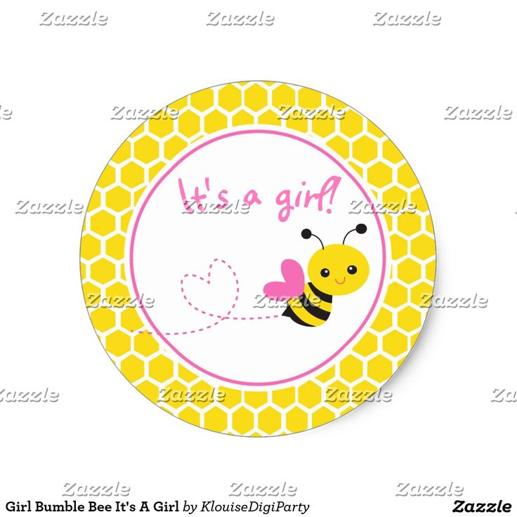 Girl Bumble Bee It's A Girl Classic Round Sticker