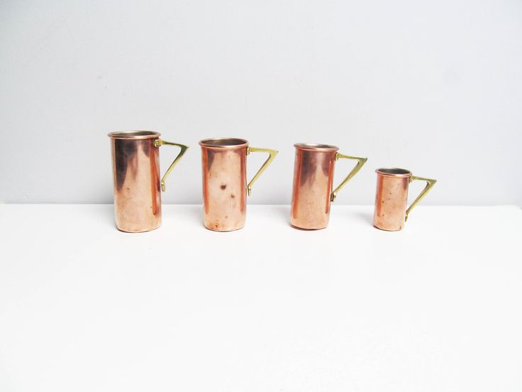 Four Vintage Art Deco copper and brass measuring cups, copper measuring cups, brass handle, Baking Supply Bakeware Rustic Kitchen Cooking by EbyVintage on Etsy