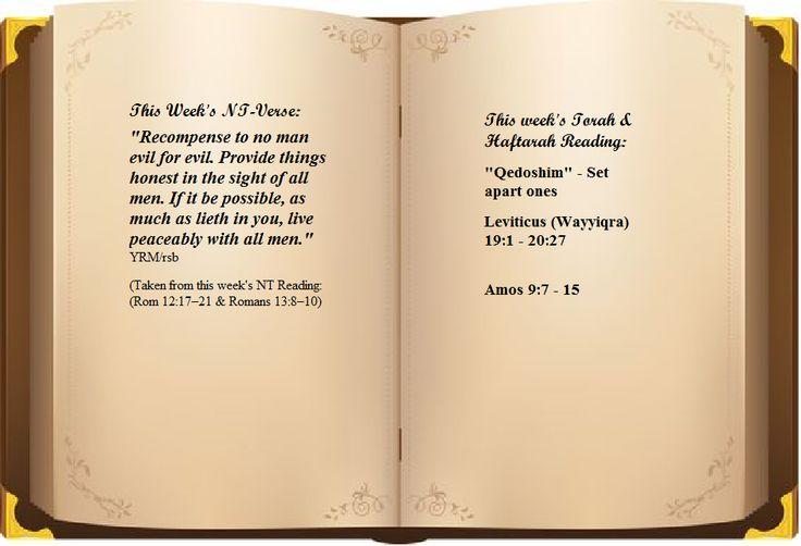Leviticus (Wayyiqra) 19:1 - 20:27 Amos 9:7 - 15   NT Reading: (Rom 12:17–21 & Romans 13:8–10)