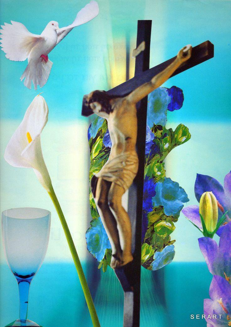 Jesus Christ in Cross ✝ Trinity Greek Orthodox Christian Easter Holy Grail Light Spring Dove ✝ Collage Art by Stelios Serras Serart