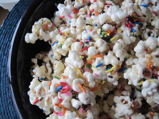 Birthday Cake Batter Popcorn! Perfect for any holiday or birthday, just change the color of the sprinkles!  SO easy to make!   | Mrs. Schwartz's Kitchen