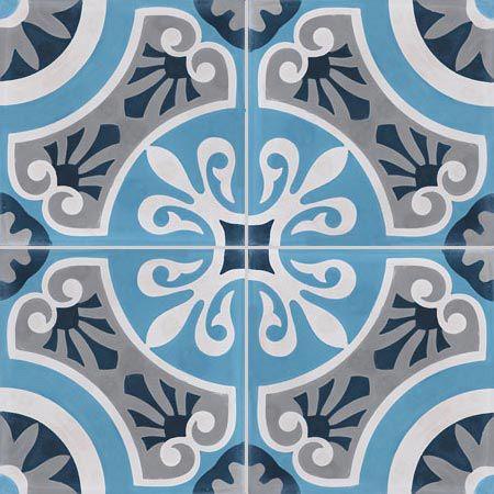 4 carreaux de ciment Premium Cercle bleu #carreauDeCiment #artisanal