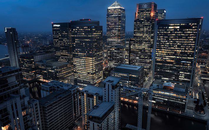 Lataa kuva Lontoo, pilvenpiirtäjiä, yömaisema, silta, UK, Englanti