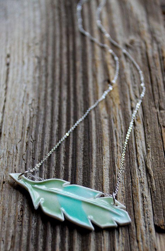 Porcelain Feather Necklace by Tashamck on Etsy