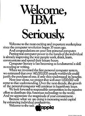 August 1981 full-page newspaper ad run by Apple in the Wall Street Journal welcoming IBM to the personal computer marketplace. #advertisingVintage Computers, Pc Marketing, Welcome Ibm, Apples Prints, Apples Ads, Auguste 1981, Vintage Apples, Serious, Prints Ads