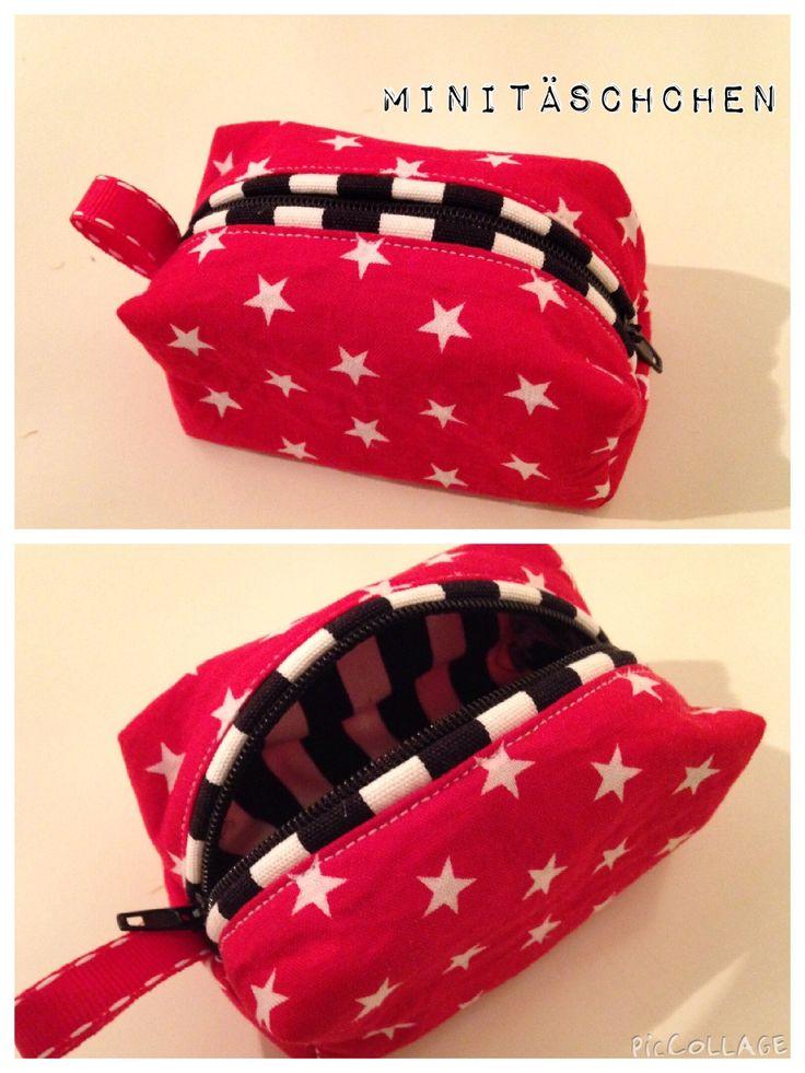 Selbst genäht - Minitäschchen mit Paspel - small bag - nach dieser Anleitung: http://draussennurkaennchen.blogspot.de/2014/08/so-geht-das-minitaschchen-aus-wachstuch.html