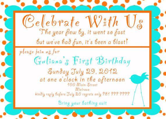 First Birthday  Invite. 5x7 printable by GoToGirlSignDesigns, $15.00