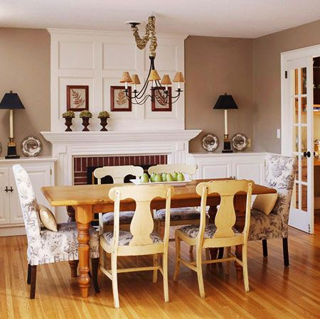 Room decorating ideas the dining room the fireplace in for Traditional dining room fireplace