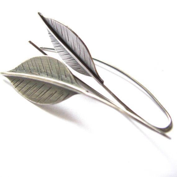 Long Silver Leaf Earrings Sterling Silver Earrings by Mocahete