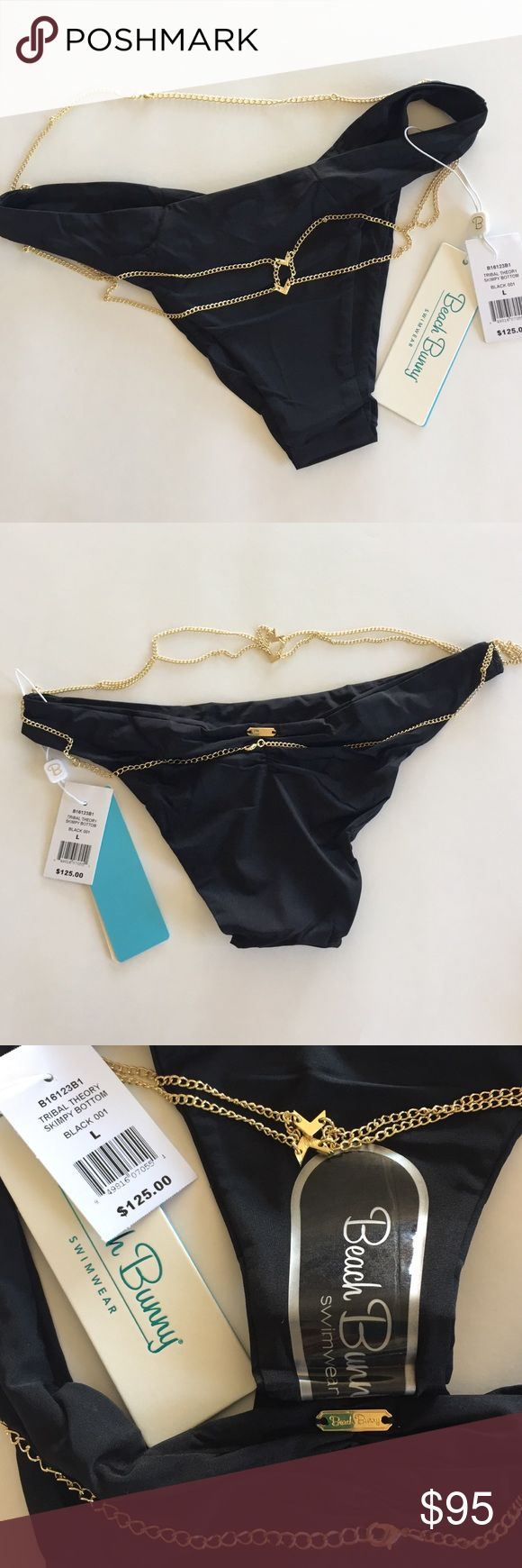 Beach Bunny skimpy bottoms Beach Bunny Tribal Theory black skimpy bikini bottoms, size large.  Gold chain detail with partial shirring & gold name plate in back.  NWT and hygiene liner intact. Beach Bunny Swim Bikinis