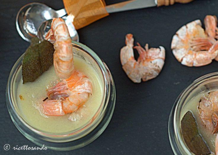 Ricettosando - ricette di cucina : Gamberi piastrati su creme parmentier e acciughe