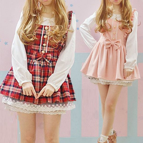 日系秋冬萌软妹可爱女装女生高腰灯笼袖假两件套lolita长袖连衣裙