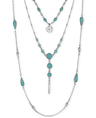 Lucky Brand Silver-Tone Layered Turquoise-Look Bead Necklace - Jewelry & Watches - Macy's